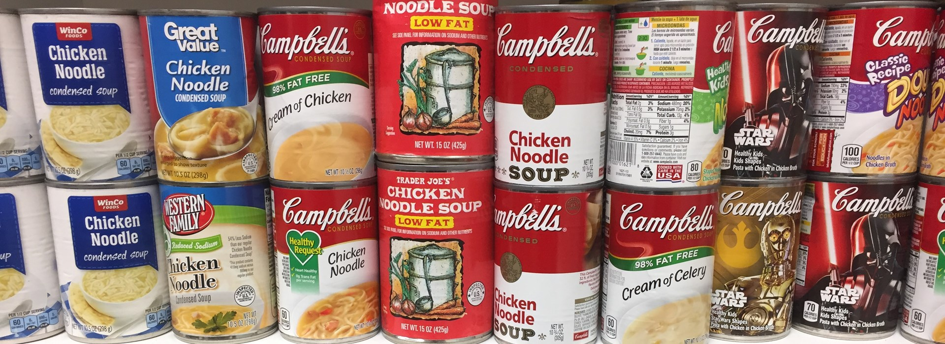 Cans of Chicken Noodle Soup
